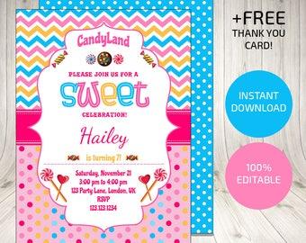 Candyland Birthday, Candyland Birthday Invitation, Candyland Invitations, Plus Free Candyland Thank You Card, Candy Invitation