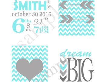 "4 8x10 printables ""Dream Big Little One"", Baby Stats, Arrows and Heart on Chevron"