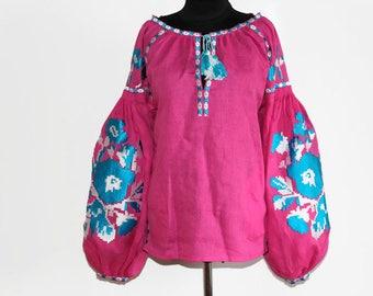 Boho Blouse Ukrainian Vyshyvanka Bohemian Clothing Embroidered Blouses Custom Embroidery Bohochic Clothing Ethnic Folk Ukraine Vishivanka
