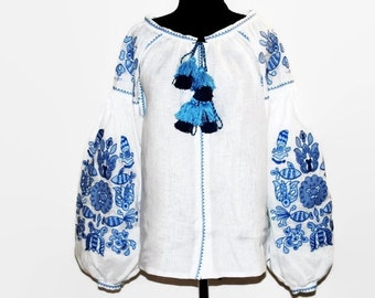 Embroidered Boho Blouses White Ukrainian Blouse Bohemian Clothing Custom Embroidery Bohochic Clothes Ethnic Folk Ukraine Vyshyvanka