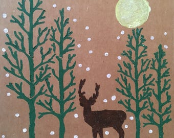Handmade Reindeer in the Forest Christmas Card