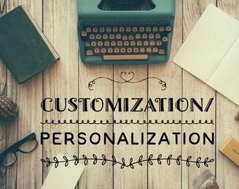 Customization/Personalization fees