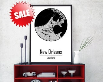 NEW ORLEANS Canvas Map New Orleans map art Canvas Map Art City canvas wall art New Orleans Poster Giclée Louisiana Louisiana Poster
