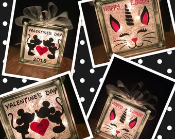Custom Valentine Minnie and Mickey and Easter Unicorn Two Sided Lighted Glass Block