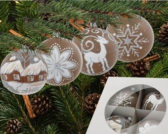 Handpainted baubles-handmade brown balls-beige reindeer baubles-beige house baubles-beige snowflake balls-brown beige baubles-glass ball-093
