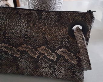 handmade faux lizard leather pouch