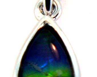 Small Pear  Shape Ammolite Pendant set in Sterling Silver.