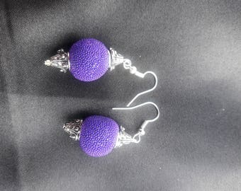 Purple & Silver capped Earrings