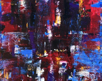 Modern Abstract #45 Rasberry Blue Violet