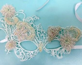 Bridal Wedding Mask, Carnival  Costume Mask, Costume Ball Mask, Costume Party Mask, Costume Masquerade Mask, Lace Costume Mask