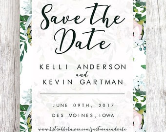 White Floral Save the Date with Semi-Transparent Background 5x7 or 4x6  (ONE-SIDED)