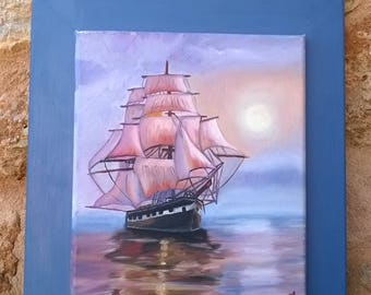 Painting with ship.