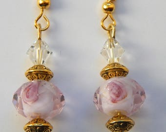 Rose Pink and Crystal Earrings