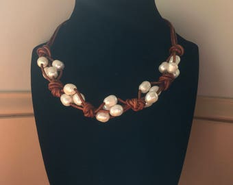Antique Leather and Freshwater Pearl Necklace