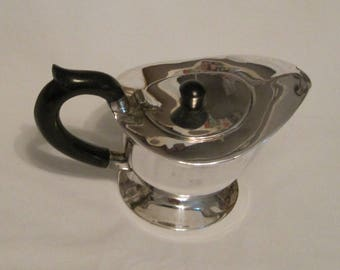 Heavy Hinged-Lid Creamer with Black Finial and Handle
