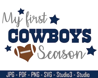 Dallas Cowboys, First Football, Babies First, Cowboys, Football, NFL - Cut Files - SVG, PNG, Studio, Studio3 - Silhoutte and More - CS063