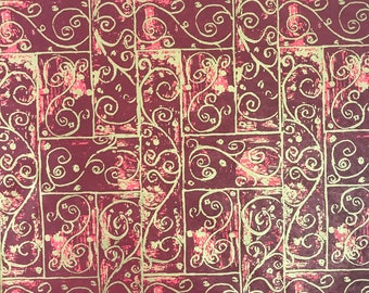"Burgundy Swirls Christmas Tissue Paper Gift Wrapping Flower Making 20""x30"""