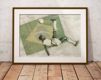 Pelé Brazil Soccer Poster, Sports Art Print, Football Poster, Drawing Print, Modern Art, Brazil