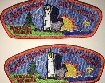 Boy Scout of America - Lake Huron Area Council - Northeast Michigan - Shoulder Patch - Set of Two - Used