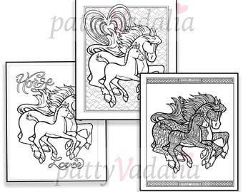 Horses. Horses to Color. Coloring Page Set. Coloring. Horse Coloring Page. Coloring  for Teens and Adults. Printables. Instant Download