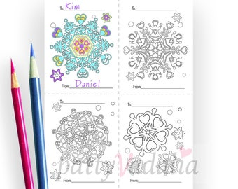 Valentine Coloring Cards. Classroom Valentines. Snowflake Hearts. 4 on 1 Coloring Page. Coloring for Kids and Grownups. Instant Download.