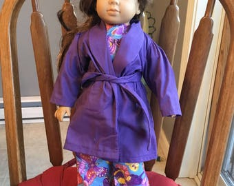 "Cotton pajamas with robe and slippers fits 18""dolls such as American girl."