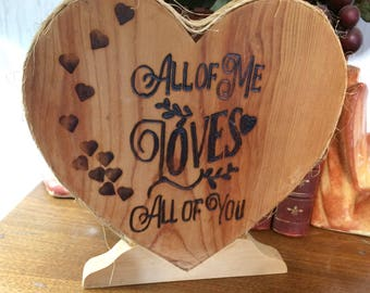 Heart Shaped Wood Burned Plaque