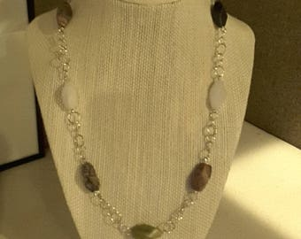 Stone and chain necklace. One of a kind