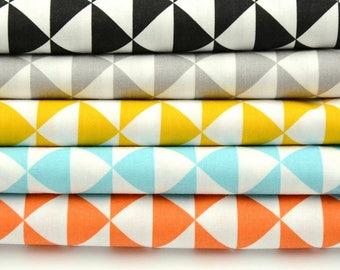 triangle print cotton fabric, geometric style cotton, modern cotton fabric, color mint yellow, ideal for children, geometric print design