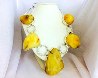 280g Baltic white BUTTERSCOTCH AMBER necklace with 925 silver
