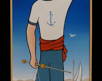 "GREEK LIFE, ""Fisherman"", 25x100cm, Mixed Art"