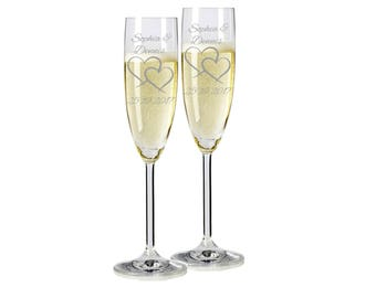 "2 Leonardo champagne glasses with personalized engraving ""Two Hearts"" bride/Groom with name and date engraved wedding gift"