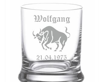 Leonardo Whisky glass engraving/engraved personalized with zodiac sign name date gift Birthday Tumbler Whiskey Glass