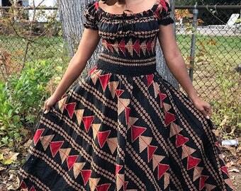 Dark Ankara Print dress