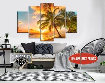 Palm canvas, Beach canvas, Palm print, Multipanel Canvas, Palm Tree, Beach Seascape,  Canvas Print,  5 Panel Canvas Print, Palm poster