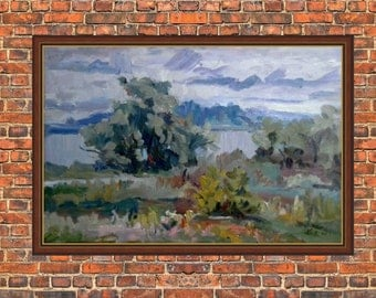 Impressionist painting on canvas / Original / Landscape painting / River oil on canvas / painting on the wall / oil painting/summer / spring