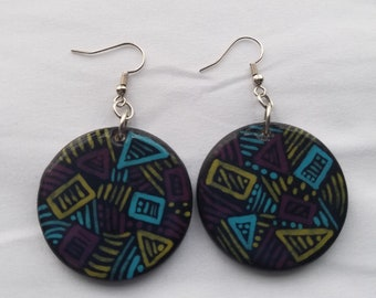 Small hand painted earrings