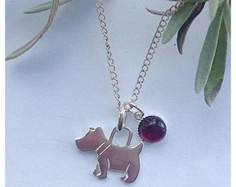 Sterling silver & garnet dog pendant necklace, Scottie dog, westie