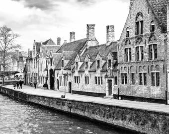 Black and White Art - Wall Art - Along the Canal Downloadable Print - Fine Art Photography - Printable art - Digital Picture - Architecture
