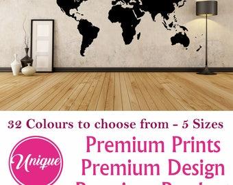 world map decal etsy. Black Bedroom Furniture Sets. Home Design Ideas