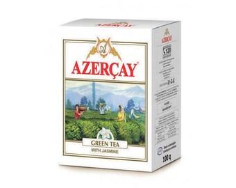 Azerçay green bulk tea with jasmine, 100 g package