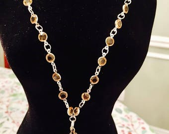 Topaz and silver link necklace