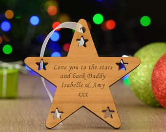 Cherry Wood Star Personalised Christmas Decoration