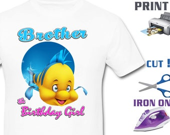 Mermaid Iron On Transfer - Brother Mermaid - Mermaid Girl Birthday Shirt DIY - Mermaid Shirt DIY - Instant Download - Digital Files