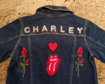 Customized patched baby denim jackets