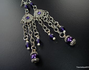 Purple gothic victorian chain and czech bead earrings with rhinestones