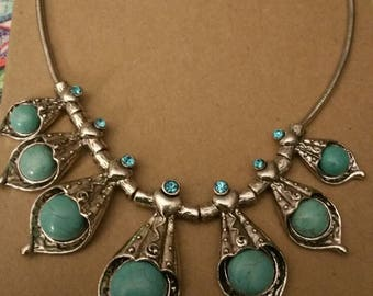 Silver and Turquoise necklace with tiny stones  (17)