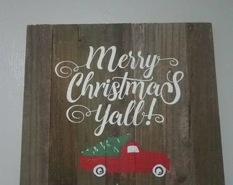 Merry Christmas Y'all weathered wood sign