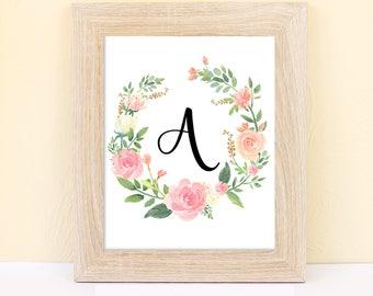 Monogram Nursery Printable. Nursery monogram. Monogram wreath Nursery Watercolor Floral.Monogram initial.Girl's room.Digital download .Gift.