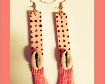 Polka dot wood earrings